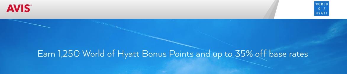 3 Tage Avis-Miete = 1750 Hyatt-Punkte (USA, Kanada) bonus promo