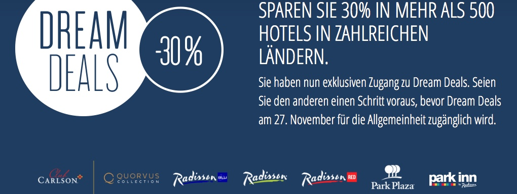Club Carlson Dream Deals: 30% Rabatt und 2500 Bonus-Punkte