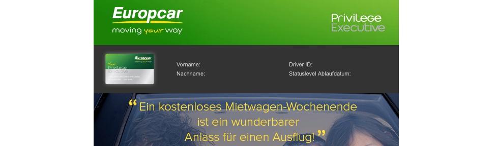 Europcar Privilege: Kostenfreie Wochenend-Miete