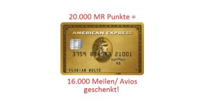 American Express Gold Kreditkarte + 16.000 Meilen - kostenfrei amex gold card 20000 membership rewards punkte 16000 meilen avios