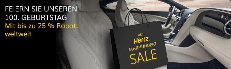 Hertz Jahrhundert Sale: Bis zu 25 % Rabatt weltweit