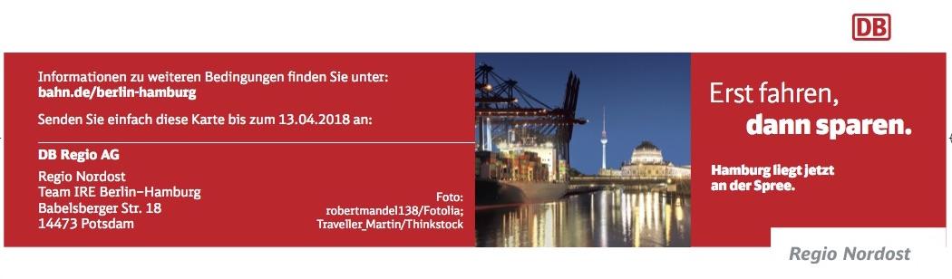 Bonuskarte IRE Berlin-Hamburg-Ticket DB Deutsche Bahn Interregio-Express