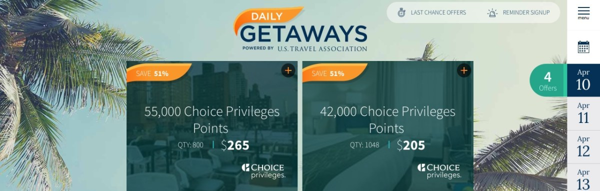 daily getaways 2018 choice privileges choice hotels punkte kaufen purchase points us travel association