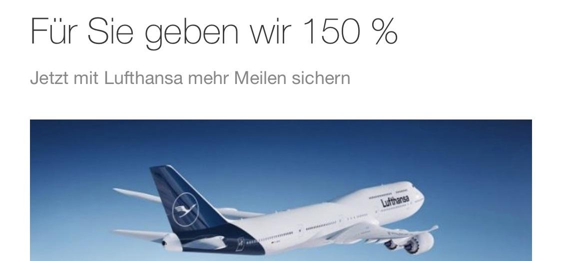 Lufthansa Miles & More: 150 % Prämienmeilen miles and more prämien bonus meilen meile