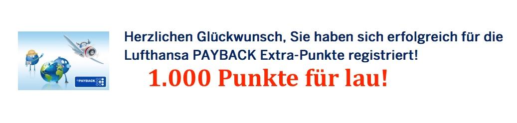 1000 Payback-Punkte mit Lufthansa-Flug