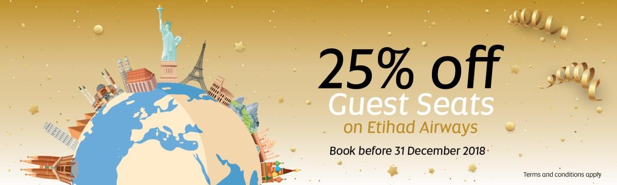 Etihad Guest: 25 % Rabatt auf Prämienflüge + 1500 Meilen kostenfrei!