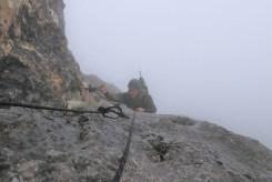 Griff und Trittschlingen erleichterten das Durchsteigen der Untersberg Südwand mit schweren Gepäck.