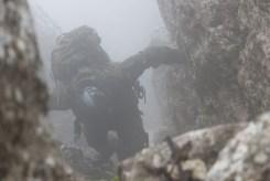 Der Kamin im letzten Teil der Untersberg-Südwand erforderte noch einmal physi-sche und psychische Robustheit.