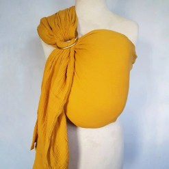 Melliapis ringsling on a mannequin in mustard yellow