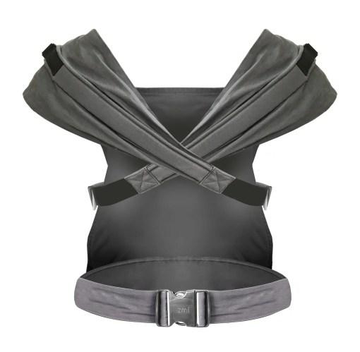 Rear of Izmi toddler carrier in grey