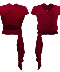 Front and rear photo of a red stretchy wrap