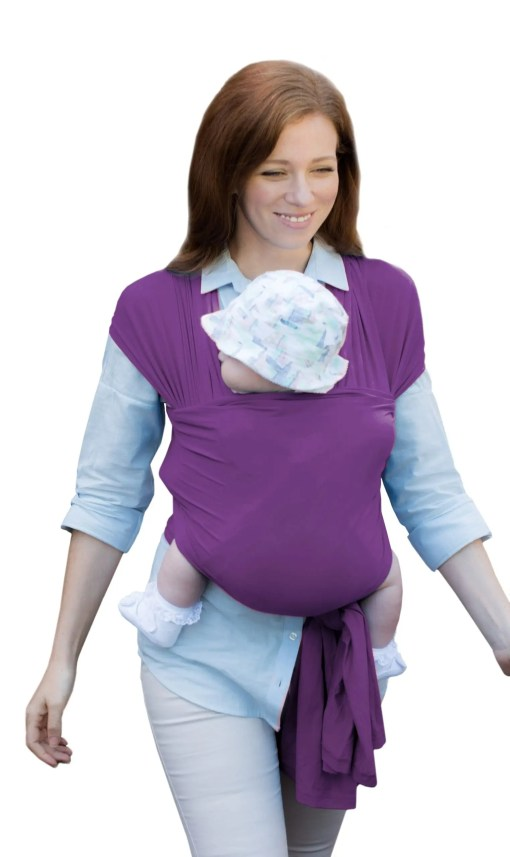 Mum And Baby Walking using a purple stretchy wrap