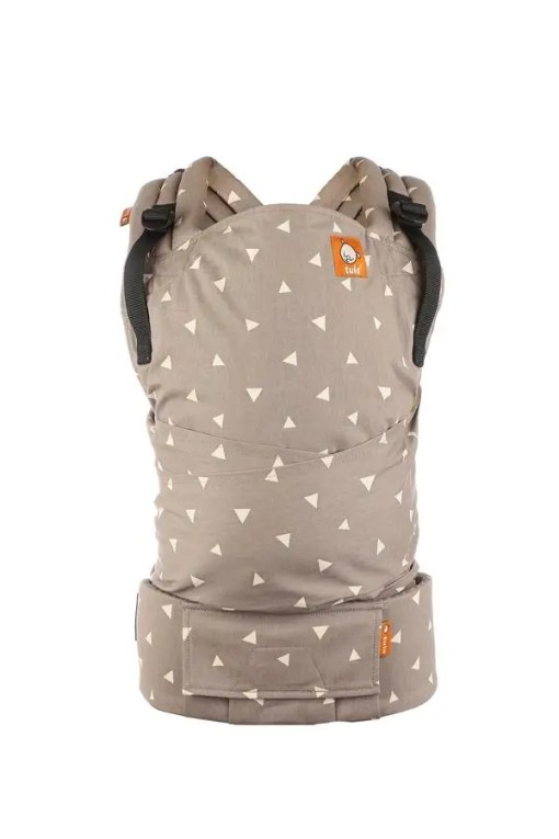 Product shot of a fawn-grey baby carrier