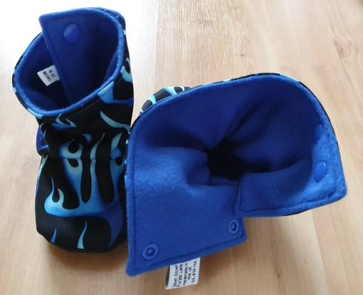Inside of Black boots with blue flames design