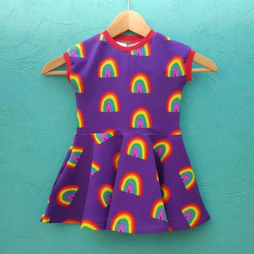 Purple rainbow print twirly dress
