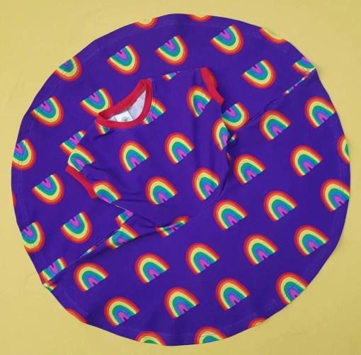 Circular skirt of the Flat shot of Purple rainbow print twirly dress