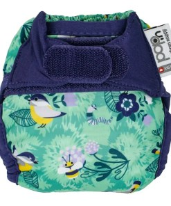 Green bird print nappy with navy trim - Close Pop-In Newborn Nappy - Round The Garden