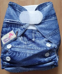 Denim print Littles & Bloomz newborn nappy