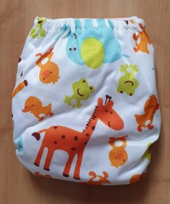 Rear of Safari Animals print Littles & Bloomz newborn nappy