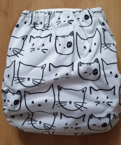 Rear of Cat print Littles & Bloomz newborn nappy