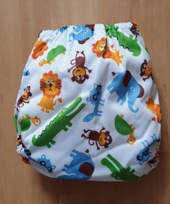 Rear of Savannah Animal print Littles & Bloomz newborn nappy