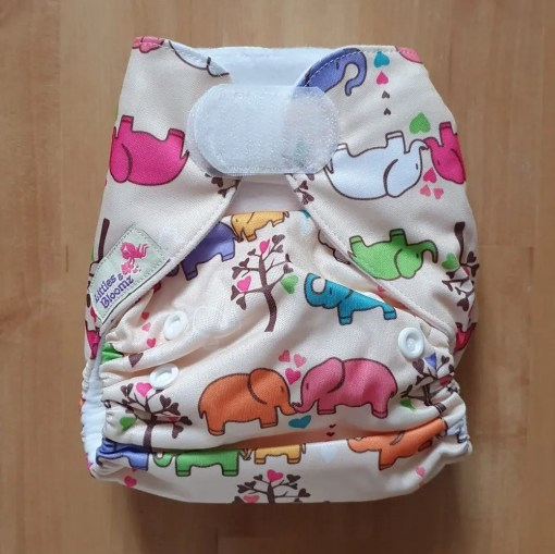 Elephant family print Littles & Bloomz newborn nappy