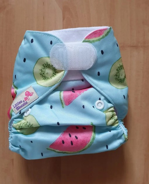 Watermelon and Kiwi print Littles & Bloomz newborn nappy