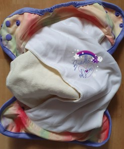 Internal view of the Little Lovebum Everyday nappy showing hemp and bamboo inners