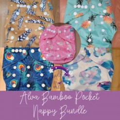 Group shot of Alva pocket nappies with bamboo inserts
