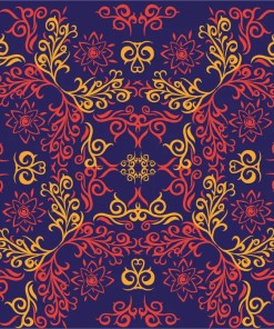 Deep purple-blue background with elaborate swirl design in yellow and coral