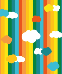 vertical rainbow stripes with clouds scattered on top Hippynut print