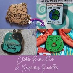 3 Cloth Bum Pins & Keyring Bundle