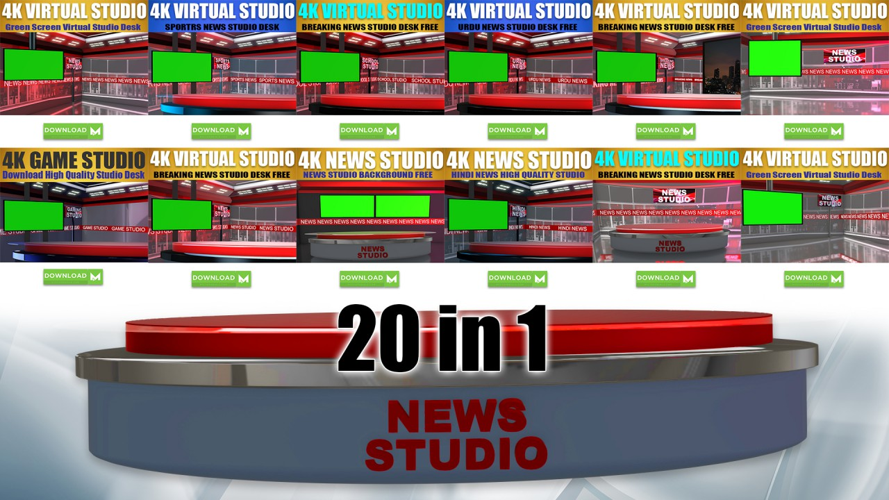 Download News Studio Desk TV Set, Sports News, Urdu News, Hindi News
