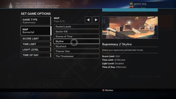 Game mode setup