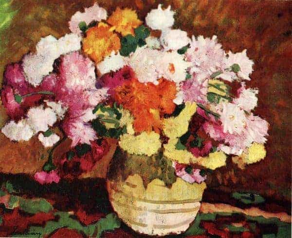 Pot with Chrysanthemums