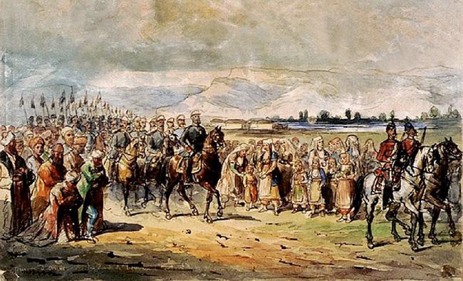 Primirea Lui Carol I în Bulgaria. Acuarelă De Carol Popp De Szathmari