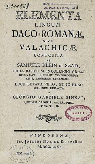 1780 Elementa linguae daco-romanae sive valachicae
