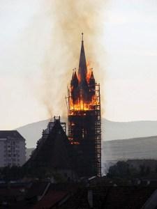 2008 Incendiu la Biserica Evanghelică Bistrița