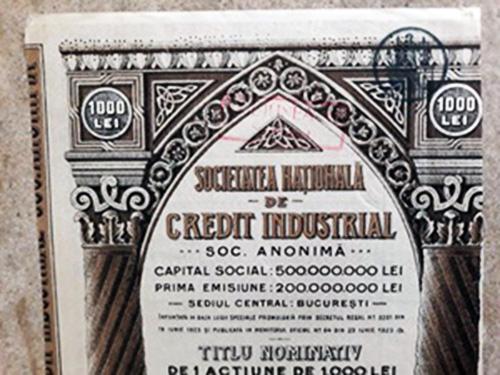 1923 Acțiune la Societatea Națională de Credit Industrial