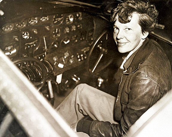 Amelia Earhart (3) -in The Cockpit Of A Lockheed Electra Airplane