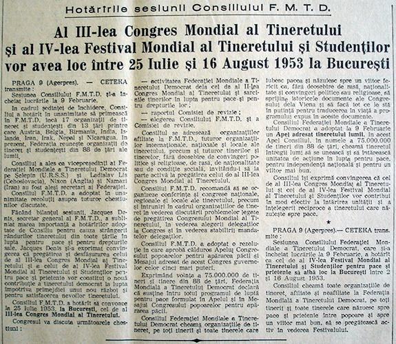 1953a Scînteia Congresul Mondial Al Tineretului