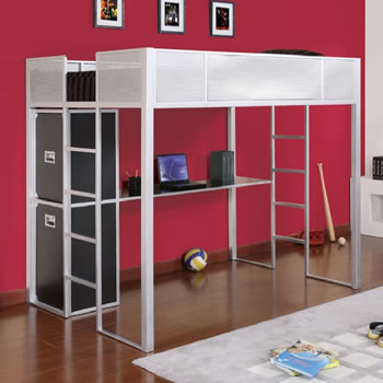 Powell Rock And Roll Full Size Metal Loft Bed With Desk