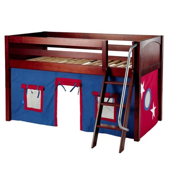 Boys Loft Bed Twin Low Loft Angled Ladder Amp Curtains