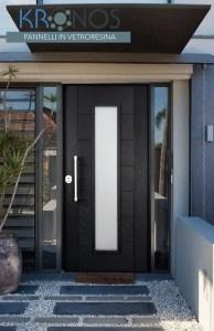 porta blindata con pannello in vetroresina kronos e vetro