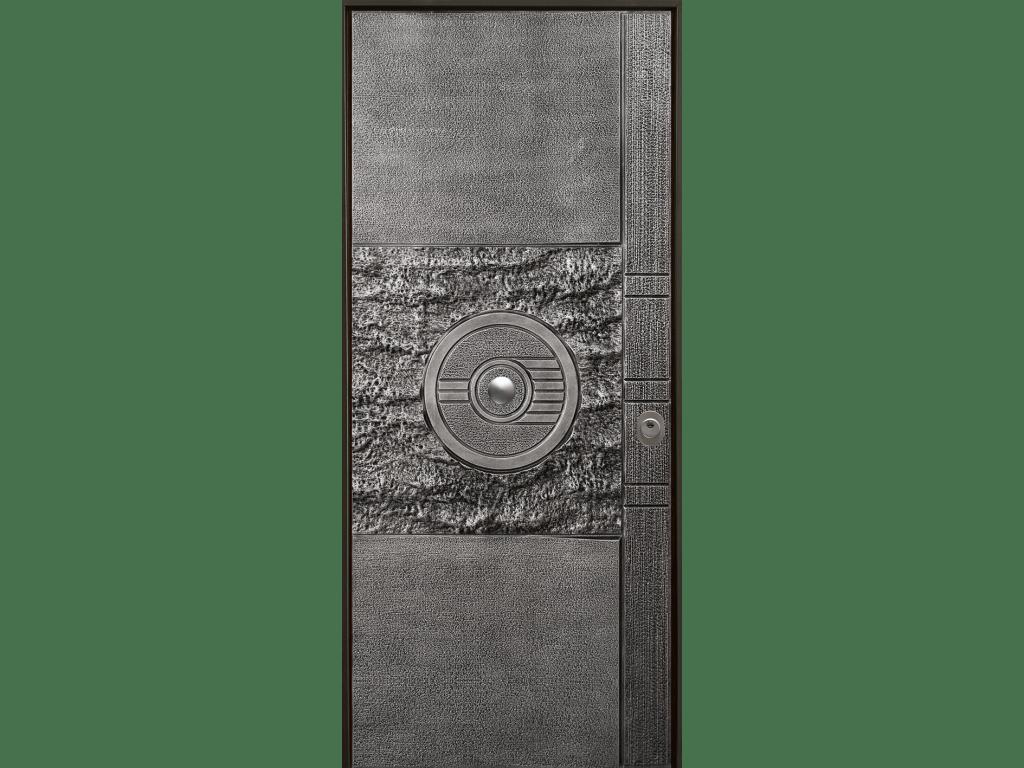 porta blindata con pannello Luna in alluminio pressofuso
