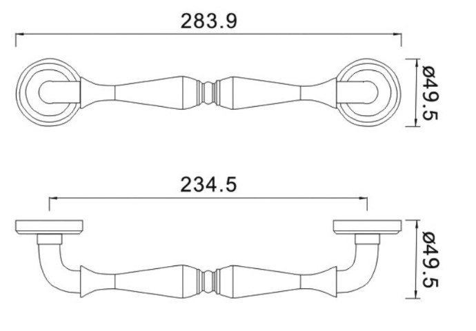 dimensioni maniglione classico serie 1