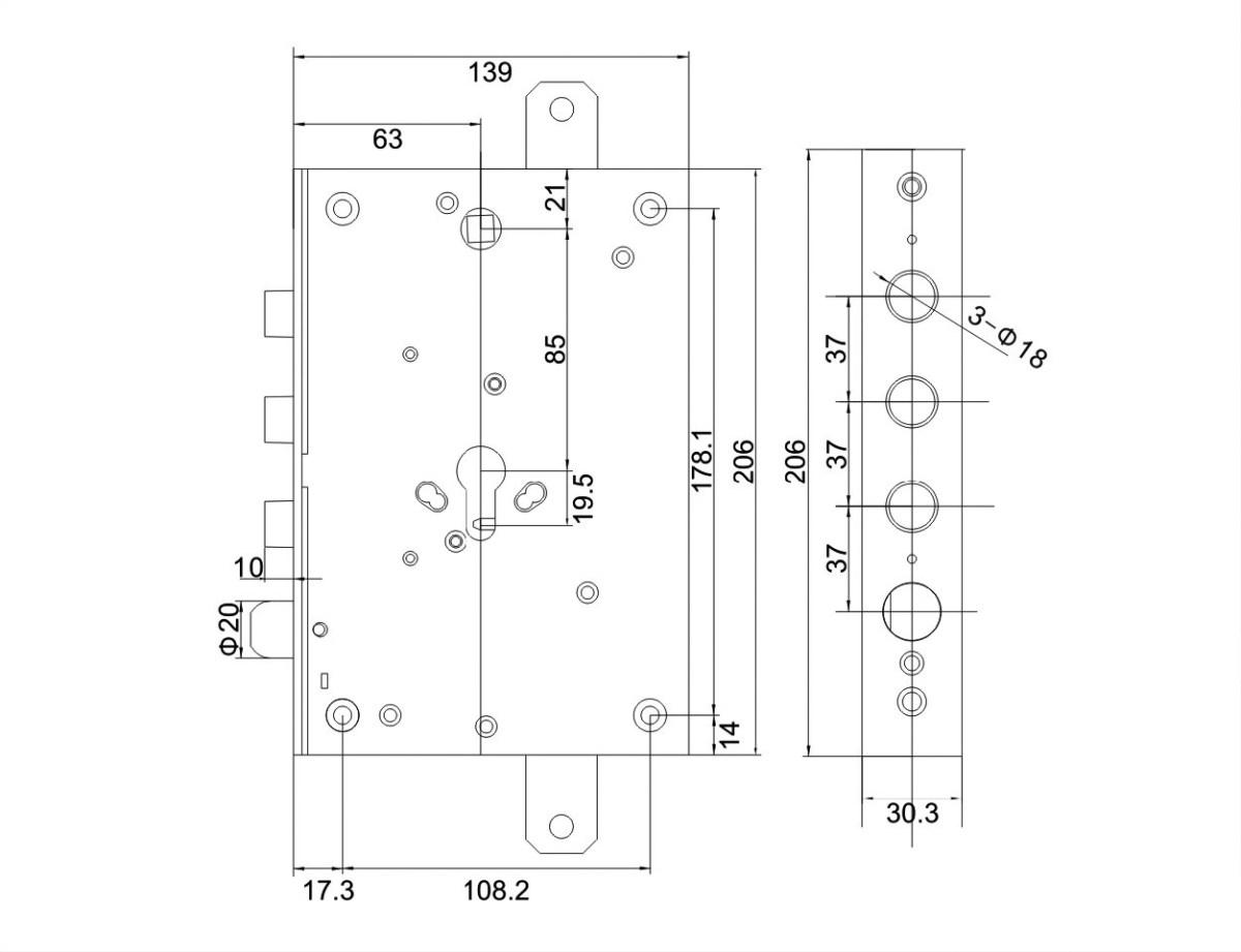 scheda serratura triplice a mandate reversibile 3 pistoni