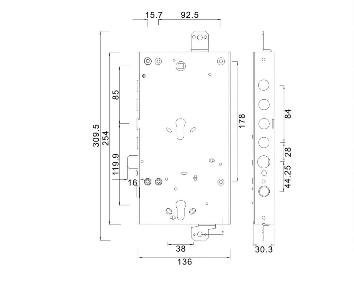 serratura triplice doppio cilindro ad ingranaggio reversibile 4 pistoni