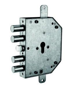 serratura triplice a mandate con scrocco centrale