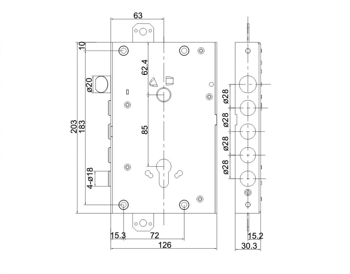 serratura triplice a ingranaggio con scrocco superiore 4 pistoni